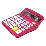Calcolatore della scrivania, calcolatrice dell'ufficio con grande batteria solare pulsante sensibile, calcolatrice di implea (rosa)
