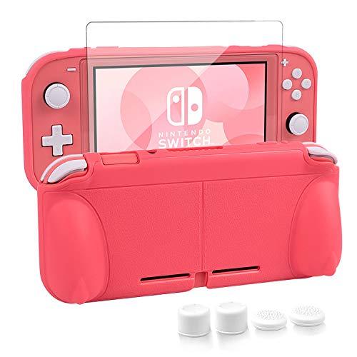 Nintendo switch liteカバー スイッチライト 任天堂 ケース Nintendo TPU素材 一体式 全面保護 耐衝撃 特殊ハンドル 薄型軽量 着脱簡単 防水防塵 頑丈 スタンド機能 スティックカバー4つ 液晶保護フィルム1枚付き 6点セット ピンク (コーラル)