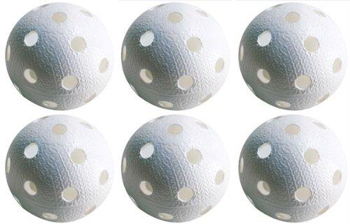 Realstick Floorball Unihockey Ball 6er Set Farbe: Weiß | Wettkampfball Trainingsball mit IFF Zertifikat für geprüfte Qualität