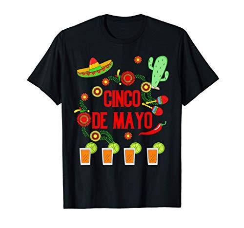 Feliz Cinco de Mayo Sombrero Pimientos Fiesta Tequila Camiseta