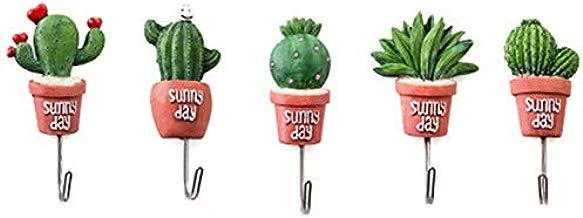 XZANTE 5 Piezas Cactus Maceta Ganchos De Ama De Llaves De Pared para Puerta Colgante Percha S Vintage Ganchos De Pared De La Capa Estante De La Llave De La Toalla para Cocina DecoracióN