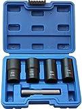 Ritzybiz 5Pcs Twist Socket Set Locking Wheel Metric Lug Nut Bolt Stud Extractor Removers Tool Kit 17mm 19mm 21mm 22mm Sockets