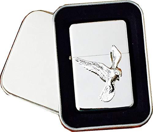 Chrome Star aansteker met Pewter Kestrel Bird of Prey Bird Emblem, compleet met metalen geschenkblikje