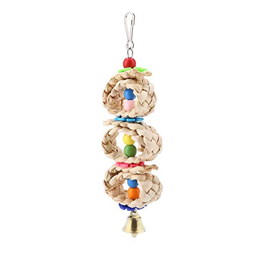 Parrot Hanging Chewing Toys, Pet Birds Circular Pattan Balls Cage Toys Parakeets Conures Wooden Corn Husk Volume Biting Toy for Small Parrots Macaws Cockatiels Love Birds