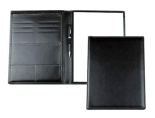 DELMON VARONE - Cartella Porta Documenti personalizzabile DIN A4 in pelle Cambridge Top Grain nero, Portadocumenti per conferenze Business Organizer c