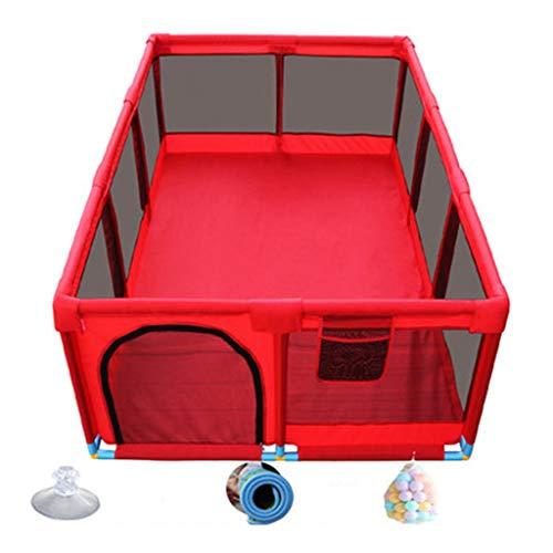 Parc bebe Parc pour bébé et Fosse pour balles d'intérieur Porte pour Aire de Jeu sécurisée pour bébés et Enfants en Bas âge avec 100 balles incluses, Rouge/Bleu (Couleur : Red)