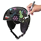 Wipeout Dry Erase Kids Helmet for Skiing and Snowboarding, Black, Ages 5+