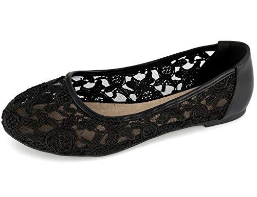 Greatonu Damen Geschlossene Ballerinas Brautschuhe Spitze Flache Schuhe Schwarz Größe EU 40