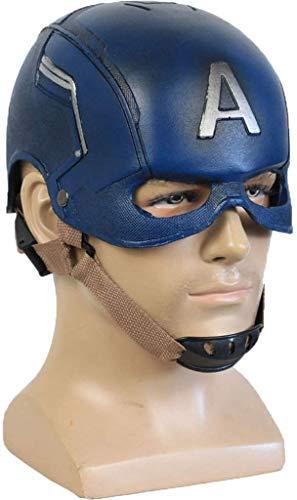 XDHN Marvel Avengers Capitán América PU Máscara Casco Halloween Cosplay Party Película Accesorios 1, 1 Deluxe Edition, Capitán América PU Máscara Casco, 58~63Cm