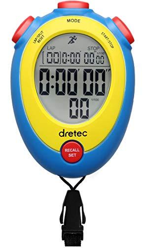 dretec ストップウォッチ 消音 勉強 時計 ラップタイム 1/100秒 スプリット アラーム メモリー SW-124ABLDI ブルー