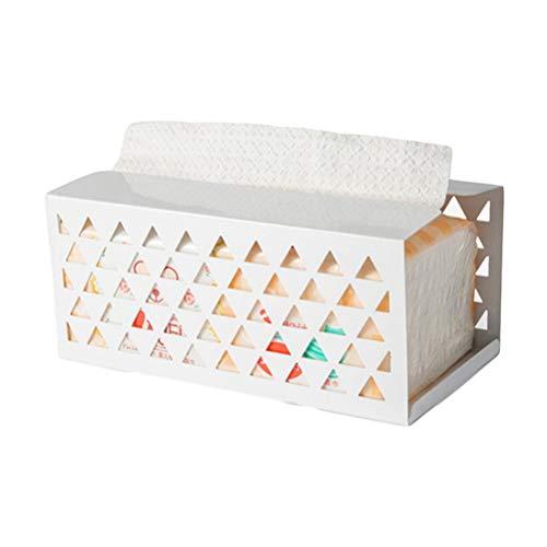 Fovely Tissue-Box Eisen Landhausstil, Serviette Papierbox Arbeitsplatte Papier Handtuchspender Tissue Holder für Küche Badezimmer (Weiß)