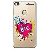 Dakanna Funda compatible con [ Huawei P8 LITE 2017 ] de Silicona Flexible, Dibujo Diseño [ Corazón watercolor con frase love ], Color [Fondo Transparente] Carcasa Case Cover de Gel TPU para smartphone