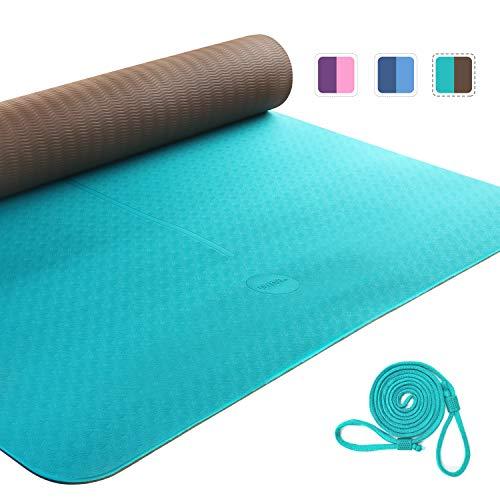 Amazon Brand - Umi - Yogamatte Gymnastikmatte Sportmatte Rutschfest Fitnessmatte,TPE Material, Pilatesmatte mit yogamatte tragegurt,183 x 66 x 0.6cm