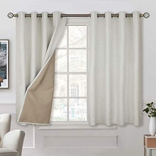 BGment 100% Blackout Curtains with Liner for Bedroom, Grommets Thermal Insulated Textured Linen Lined Curtains for Living Room ( 52 x 45 Inches, 2 Panels, Ivory White )