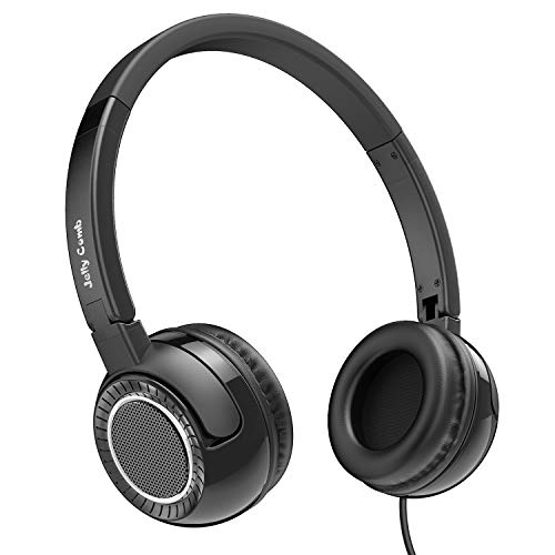 On Ear Headphones with Mic, Jelly Comb Portable Fold-Flat Wired Headphones for Kids, Teenagers, Adults (Black)