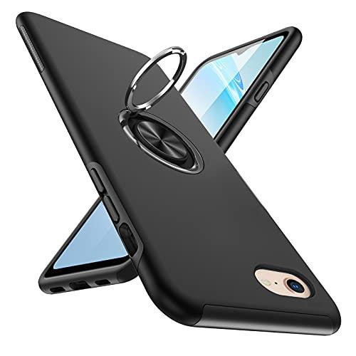 iPhone SE ケース 第2世代 iPhone8 ケース iPhone7 ケース リング付き 耐衝撃 カバー 薄型 tpu 衝撃吸収 指紋防止TPU+PC材質 車載ホルダー対応 滑り止め 落下防止 リング付き スタンド機能 傷つけ防止 全面保護 一体型 iPhone6 ケースカバー 黒Q08003-57