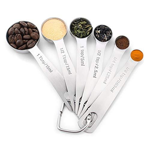 YM26 Dosierlöffel Messlöffel Set,Professioneller Edelstahl Measuring Spoons mit 6 Messlöffeln Unterschiedlicher Spezifikation zum Backen und Kochen Trocken und Flüssig