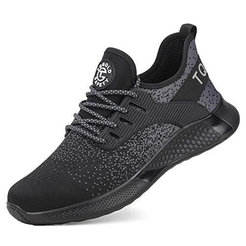 [tqgold] 安全靴 スニーカー メンズ レディース 作業靴 超軽量 鋼先芯 KEVLARミッドソール 軽量 通気性 耐滑 耐摩耗 衝撃吸収 クッション性 おしゃれ 男女兼用 大きいサイズ (ブラック 24.0cm)