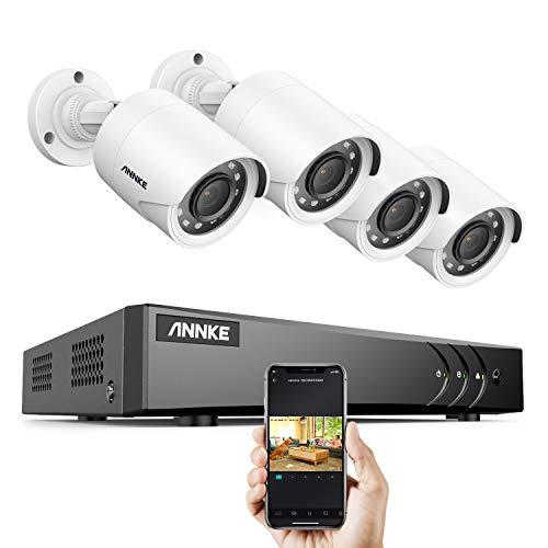 ANNKE 1080p Überwachungskamera System 8CH HD 5MP HDMI DVR Recorder mit 4 pcs außen 1080p Überwachungskamera ohne Festplatte, 30m IR Nachtsicht, Bewegung Alarm, Smartphone & PC Schnellzugriff