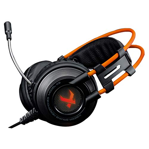 Music 3.5mm Gaming Headset for PC, PS4, Laptop, Xbox One, Mac, iPad, Nintendo Switch Games, Computer Game Gamer Over Ear Flexible Microphone Volume Control with Mic Sweat resistant ( Color : Orange )