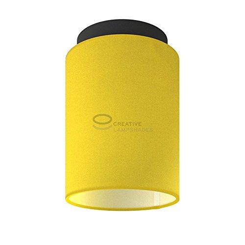 Fermaluce: wand- of plafondspot in zwart metaal met helder geel canvas cilinder lampenkap Ø 15 cm h18 cm