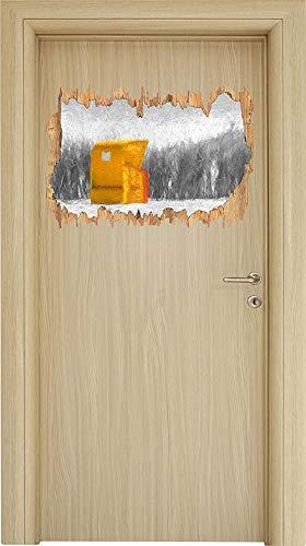 UYEDSR Adesivo murale Accogliente Sedia a Sdraio in Legno Nero/Bianco svolta nel Look 3D Adesivo da Parete o Porta Adesivo da Parete Decorazione da Parete 62x42cm
