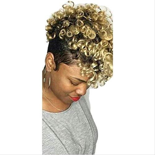 Perruque Postiches Wigs,Mode Dame Teinture Perruque Cheveux Courts Rose Net Haute Température Soie Moelleux Cheveux Bouclés Courts