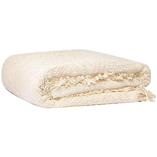 Glory Season 100% coton couverture de jet avec frange couverture chaude douce pour canapé literie salon décoration 125x150 cm, blanc crème