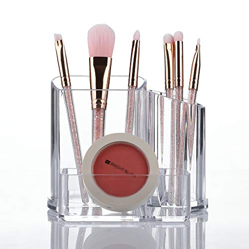 Make-up Veranstalter Pinselhalter 3 Abschnitte Acryl Kosmetik Aufbewahrungskoffer Ständer für Make-up, Heim, Büro, Badezimmer