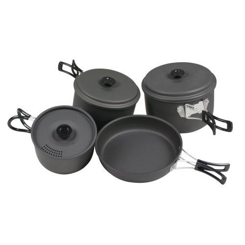 10T Topf Pfannen Set Ranger V Camping Kochset für 4 - 5 Mann 7 tlg. Kochgeschirr im Netzbeutel