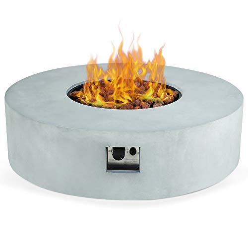 Purchase AMKV Outdoor Propane Burning Gas Fire Pit Table, 42in 50,000 BTU Gray Concrete Type Firepit...
