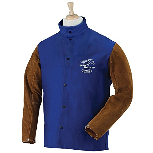 Product Image of the Revco FRB9-30C/BS-L Black Stallion Hybrid Fr and Cowhide Welding Coat, 9 oz, Large, Royal Blue/Brown