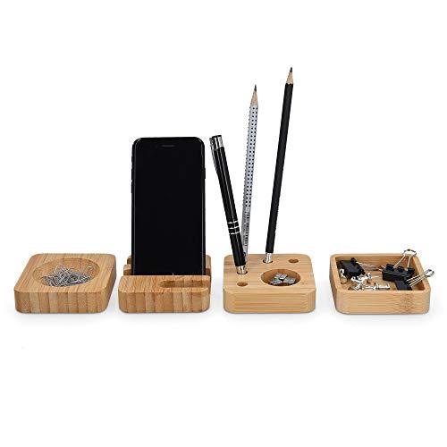 Navaris Set 4x Minimal Organizer Scrivania Ufficio - Piattino porta-penne 8x8x2cm - Porta-Oggetti Cancelleria - Organizzatore da Tavolo - Legno Bambù