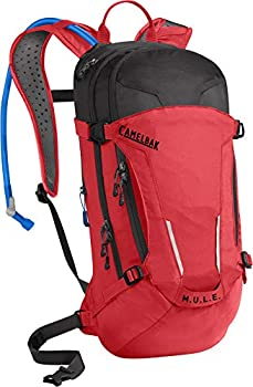 M.U.L.E Mountain Biking Hydration Pack - Easy Refilling Hydration Backpack - Magnetic Tube Trap - 100 oz Racing Red/Black