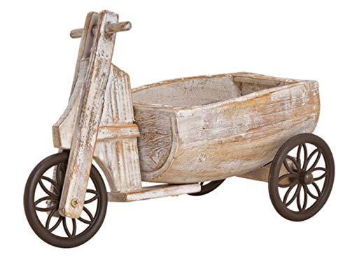 meindekoartikel Pflanzgefäß Blumenwagen Dreiradwagen aus Holz aus Kunststoff Blumentopf (braun) Breite 14cm x Höhe 26cm x Länge 35cm