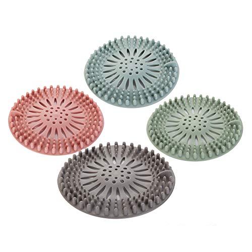 4 piezas de filtro de pelo de silicona, dispositivo de protección de drenaje universal, se pueden utilizar en el baño, bañera, cocina, filtro de pelo