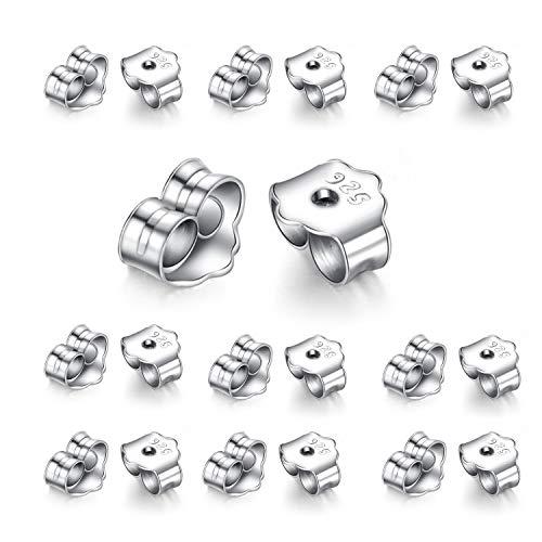 NEPAK 20 piezas de respaldos de aretes de plata de ley 925, de aretes de mariposas,4,5 x 5 mm