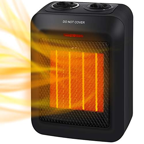 750W/1500W Portable Ceramic Space Heater with Overheats and Tip Over Protection, Electric Room...