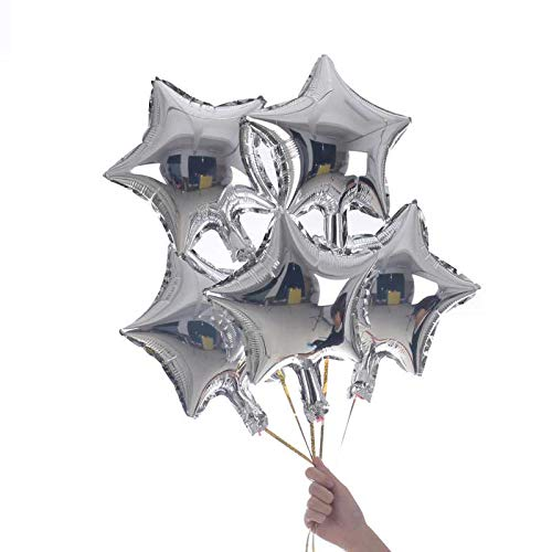 50 Pcs 10'' Silver Star Shaped Balloons Foil Balloons Mylar Balloons for Baby Shower, Wedding, Birthday or Engagement Party Decoration (Silver)
