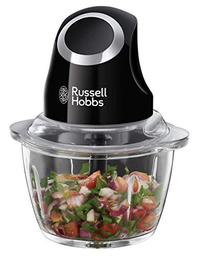 Russell Hobbs Zerkleinerer Mini Matt Schwarz (500ml Glasbehälter inkl. Deckel, Ein-Hand-Bedientaste) Gemüsezerkleinerer, elektrischer Mixer, Multizerkleinerer f. Gemüse, Obst & Fleisch 24662-56