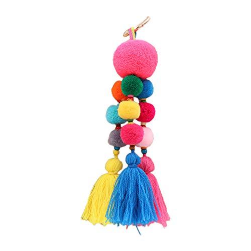 Nowbetter Pom Pom Quaste Schlüsselanhänger mehrlagig Faden Fransen Perlen Anhänger Schlüsselanhänger Auto Tasche Charm Ornamente für Frauen Mädchen, Multicolor a, 8*20cm