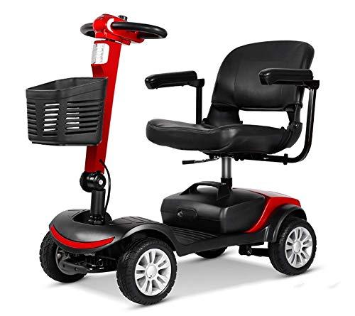 J.SH Portable Mobile Scooter Folding Travel Car Start Scooter Traveling Tools für die älteren Weihnachtsgeschenke-Rot