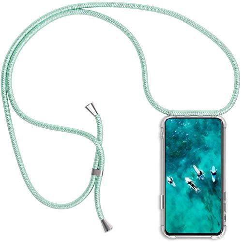 PekaTech Handykette Handyhülle kompatibel mit Samsung Galaxy S7 Hülle, Smartphone Necklace Hülle mit Band - Transparent Schutzhülle Stossfest - Schnur mit Case zum Umhängen in Grün