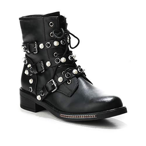 HERIXO Damen Schuhe Stiefeletten Schnallen Verzierung Perlen Nieten Flache Reissverschluss halbhoche Schnürboots Schnürer Military Boots(36,Black)