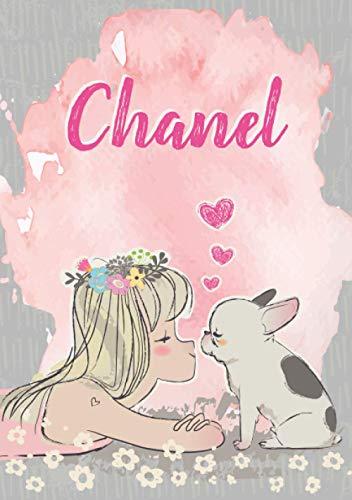 Chanel: Notizbuch A5 | Personalisierter vorname Chanel | Geburtstagsgeschenk für Frau Mutter Tochter Schwester | Nettes Mädchen mit Bulldogge | 120 Seiten liniert, Kleinformat A5 (14,8 x 21 cm)