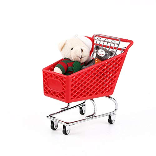 YARNOW Mini Supermarket Handcart 5.50x5.38x3.34inch Shopping Cart Mode Desk Storage Organizer Toy Holder Desk Accessory for Office Bedroom Organizing Random Color