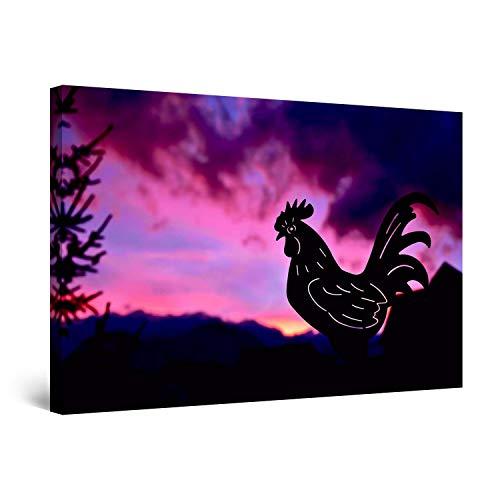 Startonight Impression Sur Toile Peinture Feu Ciel Violet et Coq de Fer, Tableau Abstrait - Decoration Murale Salon Moderne - Image sur Toile - 80 x 120 cm