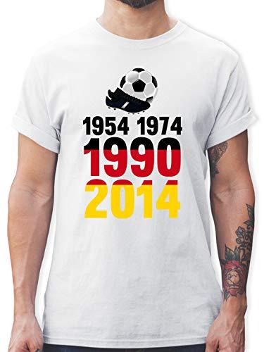 Fußball-Europameisterschaft 2021-1954, 1974, 1990, 2014 - WM 2018 Weltmeister Deutschland - M - Weiß - 1974 Tshirt - L190 - Tshirt Herren und Männer T-Shirts