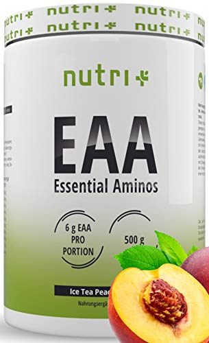 EAAs POWDER Vegan 500g - HIGHEST DOSE - alle essentiële aminozuren - Ijsthee perzik smaak EAA - Nutri-Plus Sports - Essentiële Amino's