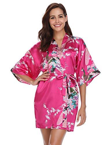 Vlazom Damen Morgenmantel Kimono Satin Robe Kurze Nachtwäsche Peacock und Blume Negligee V Ausschnitt Bademantel Mit Gürtel